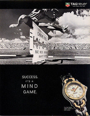 1995 TAGHeur Watch Ad Sports Razor Blade Graphics - Paperink Graphics