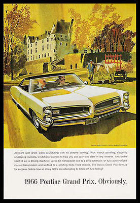 Pontiac Grand Prix Automobile 1966 AF VK Print Ad - Paperink Graphics
