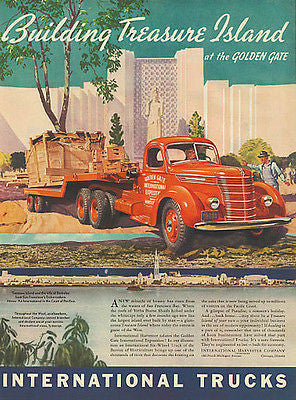 1936 Golden Gate Expo International Truck Ad Treasure Island Red Truck