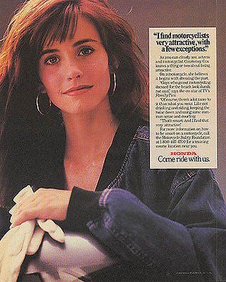 Courteney Cox Actress Vintage 1989 Honda Motorcycle Photo Illustration Ad