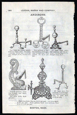 1892 AD Iron Andirons Fireplace Hearth Interior Decorating Six Designs