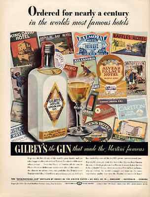 Hotel Luggage Labels Gilbeys London Dry Gin 1939 Distillery AD Graphic Design