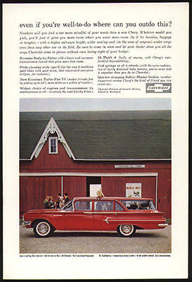 Red Chevy Chevrolet 9 Passenger Kingswood Station Wagon Fins 1960 Photo Ad