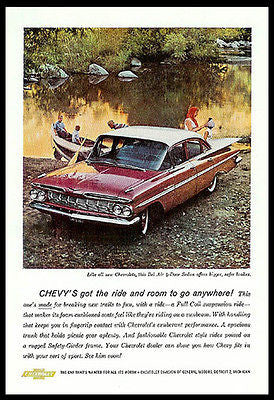 Chevrolet Bel Air 4dr Cherry RED Sedan Fins Photo Ad Lake Canoe Ride