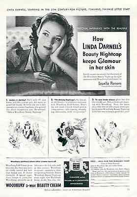 Linda Darnell Actress Woodbury Beauty Cold Cream 1940 Photo Illustration AD - Paperink Graphics