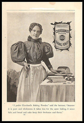 Cleveland Baking Powder Kitchen Art 1895 Photo Ad Baking Teacher - Paperink Graphics