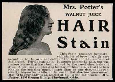 Hair Stain Mrs Potters Walnut Juice Natural Rich Brown Hair Coloring 1902 AD