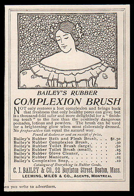 Rubber Complexion Brush 1896 Facial Beauty Antique AD Baileys Health & Beauty