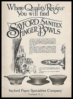 Butler Serves Sayford Paper Finger Bowls 1916 Party Ad