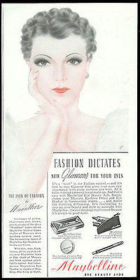 Glamour Eyes Maybelline Model 1940 Fashion Facial Beauty Cosmetics Ad