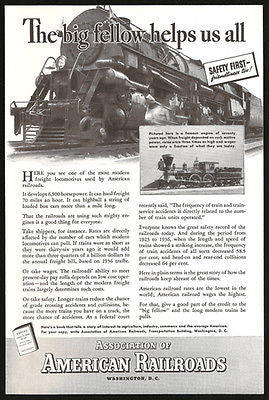 Freight Locomotive Ad Huge 1937 Railroad Photo AD Antique Engine Insert Photo - Paperink Graphics