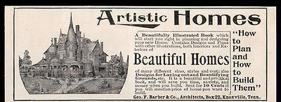 Architecture Artistic Homes Castle Turret Ad 1896 Geo. F. Barber Architects TN - Paperink Graphics