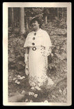 Flowers Daisies Woman Vintage Photograph Fashion Gown Hat Gloves Stroll Among the Daisies - Paperink Graphics