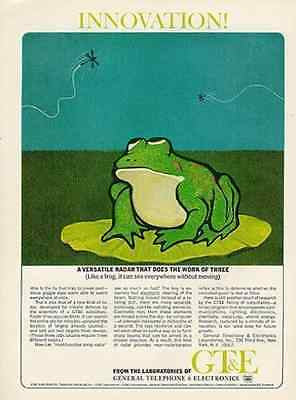 Frog Lilly Pad General Telephone Electronics Radar GTE 1965 AD Bill Conlon Art - Paperink Graphics