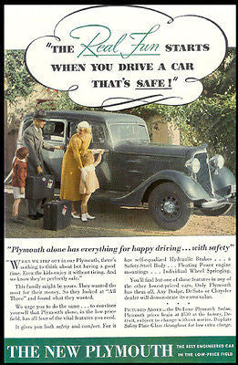 Antique Automobile Ad 1934 Plymouth Step Out in our Plymouth Family Travel
