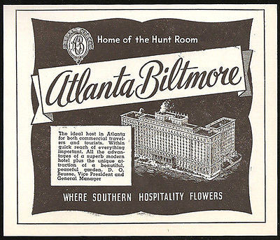Atlanta Biltmore Hotel Ad Atlanta Georgia 1953 Roadside Ad Travel - Paperink Graphics