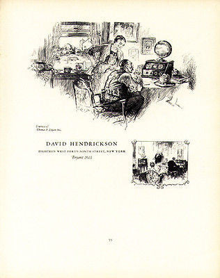 David Hendrickson Artist 1926 Artwork Illustration Promotion Ad Scarce
