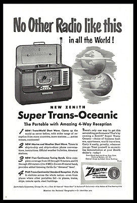 Zenith Radio Advertisement 1951 Zenith Super Trans-Oceanic Short Wave Radio AD
