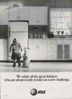 Pie Challenged Pudgy Boy and Puppy Dog 1991 AD AT&T Salute to Great Thinkers