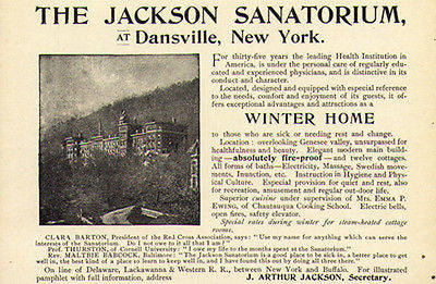 Jackson Sanatorium 1894 Ad Dansville NY Baths Massage Rest