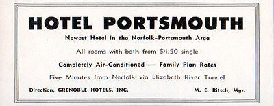 Hotel Portsmouth Norfolk Portsmouth Virginia Room w Bath 1956 Travel Tourism AD - Paperink Graphics