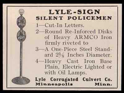 Police Traffic Sign 1919 Ad Antique Lighting Signage Sign Silent Policemen