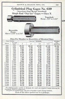 Brown & Sharpe 1941 Tool Catalog AD Cylindrical Plug Gages No. 659