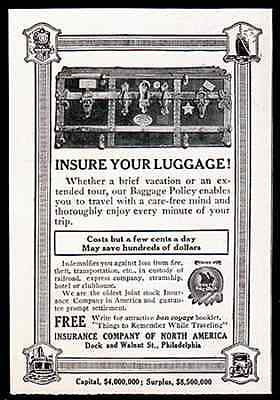 Insure Your Luggage Insurance Co of N A 1914 Print AD - Paperink Graphics