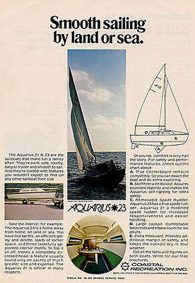 Aquarius 23 Sail Boat Five Berths Galley Dinette 1970s Sail Boat Ad