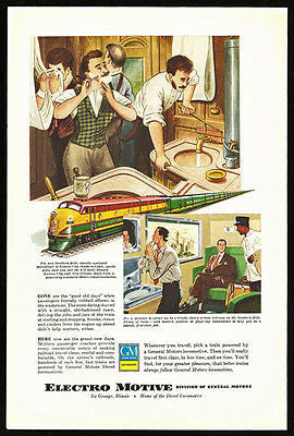 Shaving Southern Belle Kansas City Southern Line  GM Locomotives 1949 Ad