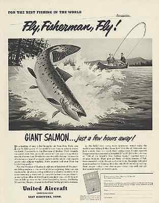 SALMON Fly Fishing United Air 1952 Tom Ruddy Ad