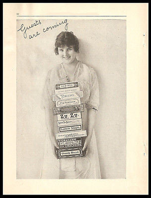 Nabisco Cookie Girl Stack 10 Assorted Cookie Packages 1917 Photo Ad