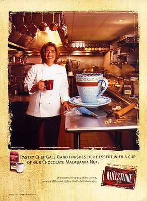 Pastry Chef Gale Gand Cake Millstone Coffee 2000 Kitchen Baking Ad - Paperink Graphics
