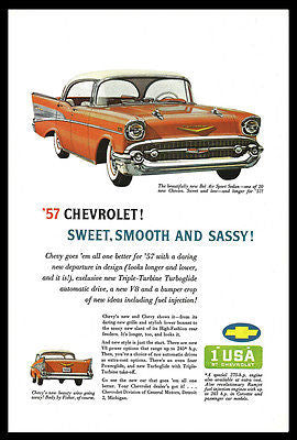Bell Air Sport Sedan 1957 Chevrolet Auto Fins Chrome Triple-Turbine Turboglide - Paperink Graphics
