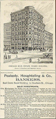 Gold Bankers Chicago Building Peabody, Houghteling 1890 Hofsten Print AD - Paperink Graphics