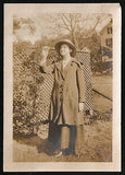 Antique 1917 Photograph Curious Woman in Hat Coat Sepia Snapshot Photo