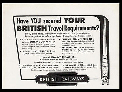 British Railways Train Travel 1949 Print AD Rail Transportation Advertisement