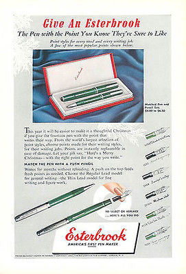 Esterbrook Pen Pencil Set Nibs Desktop Writing 1950 Ad