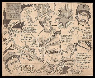 Yaz Lynn Heise Red Sox vs Twins Sports Cartoon Newspaper Clipping - Paperink Graphics