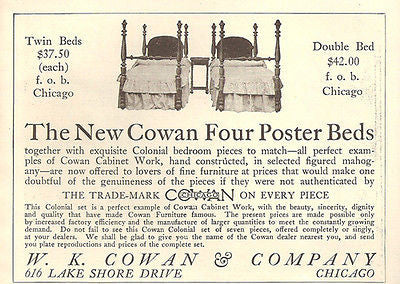 New Cowan Twin Colonial Four Poster Beds 1914 Cowan Chicago AD