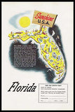 1950 Florida Map Rackow Artwork Print Ad Sunshine State USA Map Illustration Ad