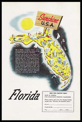 1950 Florida Map Rackow Artwork Print Ad Sunshine State USA Map Illustration Ad - Paperink Graphics