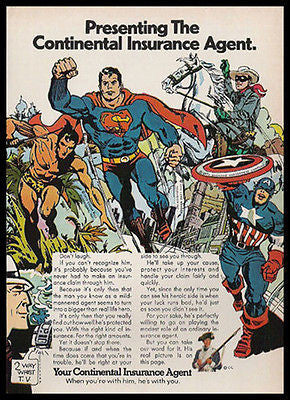 Captain America Superman Superheroes Cartoon Art 1972 AD - Paperink Graphics