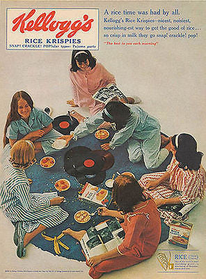 Kelloggs Rice Krispies 1965 Ad Teens Play Record Albums