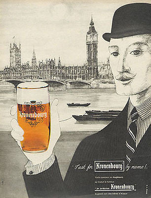 Kronenbourg 1962 AD Englishman in Bowler Toasts French Beer RL Dupuy Art