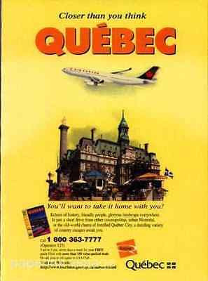 Air Canada Plane Aviation QUEBEC Tourist Travel Promo 1998 Ad