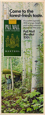 Canoe White Birch Trees Forest Pall Mall Cigarettes 1967 AD Sports