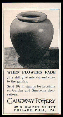 Galloway Pottery AD 1938 Jar Terra Cotta Garden Home Decor - Paperink Graphics