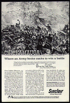 Chickamauga Lookout Mountain Tennessee Civil War Battle 1960 Sinclair Oil AD