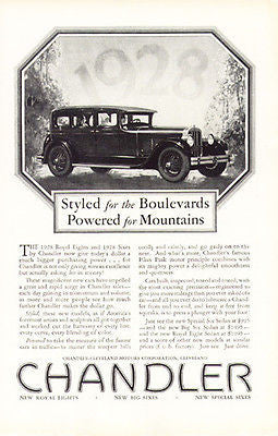 Chandler 1928 Promotion Advertisement 1928 Royal Eights and Sixes by Chandler